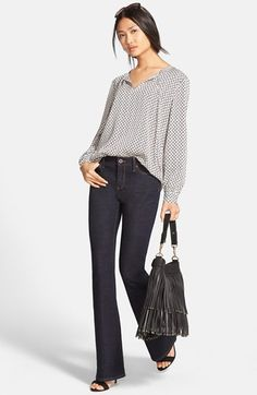 Nordstrom Collection Tie Neck Blouse & Flare Leg Jeans available at #Nordstrom