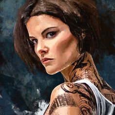 Fan Art of the character Jane Doe from Blindspot played by Jaimie Alexander. Jaimie Alexander, Lady Sif, Ashley Johnson, Fantasy Images, Popular Tattoos, Character Concept, Body Art Tattoos, Comic Art, Tv Series