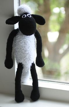 """Shaun the Sheep, crocheted by Lisette Eisenga of """"little Z handmade"""" (www.little-z.nl). Lisette says: """"This is my first crochet project ever, made in Spring, 2009.  You can make him yourself; the pattern can be downloaded for free at Purplelinda Crafts, copyright of Linda Smith.  You can also purchase a kit put together by Linda Smith at: purplelindacrafts.co.uk"""