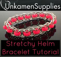 Jewelry Making For Beginners Stretchy Parallel Chain or Helm Weave Chainmaille Bracelet Tutorial - Expert PDF - Jewelry Kits, I Love Jewelry, Jewelry Supplies, Jewelry Crafts, Handmade Jewelry, Beaded Jewelry, Metal Jewelry, Jewelry Ideas, Craft Supplies
