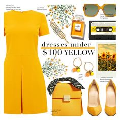 """Fun Summer Yellow Dress Under $100"" by voguefashion101 ❤ liked on Polyvore featuring Gucci, J.Crew, Warehouse, Christian Louboutin, Polaroid, Chanel and Lulu Frost"