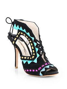 Riko Colorblock Suede & Metallic Leather Lace-Up Sandals by: Sophia Webster