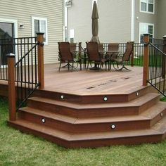 Deck Idea - LOVE the lights in the steps!  Not sure if the corner steps would work in my yard, but possibly...