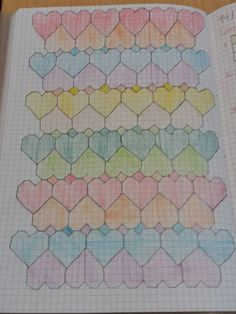 Corazones en cuadrcula Graph Paper Drawings, Graph Paper Art, Doodle Drawings, Doodle Art, Zentangle Patterns, Quilt Patterns, Native Beading Patterns, Heart Quilt Pattern, Pixel Drawing