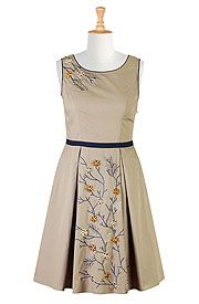 Floral Embellished A-Line Poplin Dresses, Cotton Poplin Dresses Shop womens fashion clothes | Dresses | Maxi dresses, party dresses, casual dresses CL0034945 | eShakti