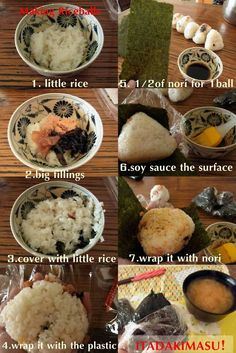 """ I want lots of love to this post because it took me loads of time to edit! xD ingredients Many people sprinkle salt on the surface of onigiri before wrapping it with nori, instead of. Bento Recipes, Cooking Recipes, Healthy Recipes, Cooking Tips, Japanese Dishes, Japanese Food, Onigirazu, Asian Recipes, Ethnic Recipes"