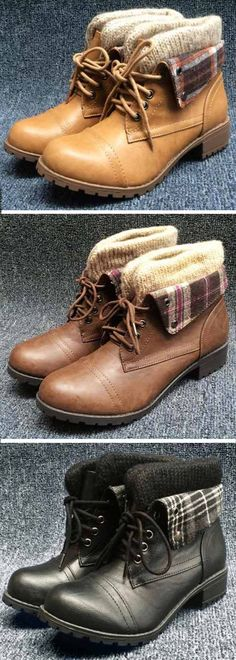 Only $33.99! Free Shipping! Time to collect this ankle boots! This lace-up short boots is detailed with splicing of knitting&plaid fabric&PU! Perfect pairing for every autumn/winter look Only at Cupshe.com