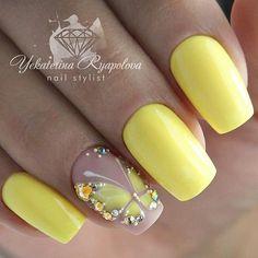 Spanish Nails Models and Photos Page 46 of 56 - Nail Designs & Manicure Bl. - Nail Design Ideas, Gallery of Best Nail Designs Fabulous Nails, Gorgeous Nails, Fancy Nails, Trendy Nails, Spring Nails, Summer Nails, Butterfly Nail Art, Butterfly Nail Designs, Yellow Nails