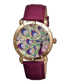 Loving this Gold & Fuchsia Genevieve Mother-of-Pearl Leather-Strap Watch on #zulily! #zulilyfinds