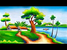 Hello Friends Welcome to Our Channel Friends Our Channel makes videos on different type of Art Media In this Video we show you Oil Pastel Color Media to make. Scenery Drawing Pencil, Beautiful Scenery Drawing, Easy Scenery Drawing, Drawing Sunset, Oil Pastel Drawings, Art Drawings Sketches Simple, Easy Drawings, Oil Pastel Colours, Oil Pastels