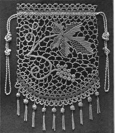 'Opera Bag' in Irish Crochet…….Has free pattern in English and many more Motifs etc….