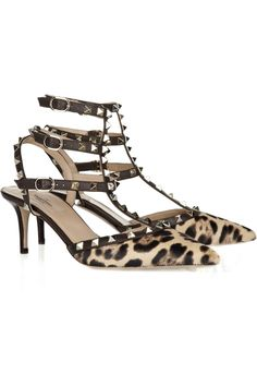 Valentino Studded calf hair kitten heel sandals - 50% Off Now at THE OUTNET