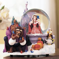 beauty and the beast winter snow globe
