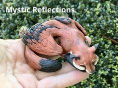 Winged Fox Animal Pal Handmade Ooak Polymerclay Sculpture by Mytic Reflections Fox Animal, Pet Fox, Polymer Clay Creations, Fantasy Artwork, Etsy Seller, Wings, Sculpture, Handmade, Animals