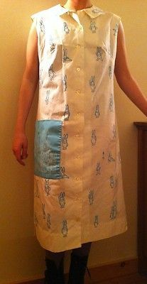 Vintage Vested Gentress Hand Screen Print Blue Bunnies Dress M Sz 12 Cute | eBay