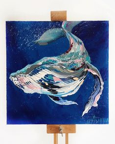 Contemporary art canvas - painting Palette Textured Palette Knife Paintings Capture the Majestic Beauty of Whales – Contemporary art canvas Whale Painting, Painting & Drawing, Watercolor Paintings, Acrylic Painting Animals, Diy Painting, Fuchs Illustration, Contemporary Art Prints, Whale Art, Palette Knife Painting