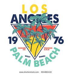 Tee Print Vector Design Palm Trees Stock Vector (Royalty Free) 602033429 : tee print vector design with palms N Logo Design, Design Vector, Retro Design, Logo Sticker, Sticker Design, Surf Retro, Palm Beach, Bullet Journal Art, Vintage Typography