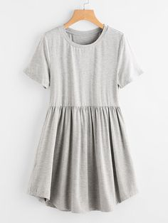 Women Casual A Line Plain Fit and Flare Flared and Trapeze Round Neck Short Sleeve Natural Grey Short Length Heather Knit Curved Hem Smock Tee Dress Look Fashion, Fashion Outfits, Womens Fashion, Dress Fashion, Fashion Ideas, Fashion Trends, Fit And Flare, Jw Mode, Tee Dress