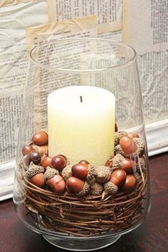 Herbstdeko mit Eicheln simple house diy Fall Pottery Barn Knock-Off Decor Autumn Decorating, Decorating Tips, Interior Decorating, Fall Home Decor, Autumn Home, Thanksgiving Decorations, Seasonal Decor, Diy Thanksgiving, Acorn Decorations