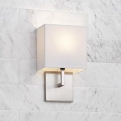"""George Kovacs Nickel Fabric Shade 11 1/2"""" High Wall Sconce.   7"""" wide, Extends 4"""" from the wall.   $68.00."""