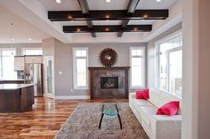 Open Living Space, Love the ceilings Open Space Living, Living Spaces, Custom Builders, Ceilings, Custom Homes, Construction, Home Decor, Building, Decoration Home