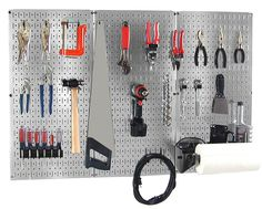 4 ft Metal Pegboard Basic Tool Organizer Kit with Galvanized Toolboard and Black Accessories