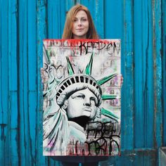 Statue of Liberty Poster, Statue of Liberty Art, New York Art, New York, Contemporary Art, Street Art Print, Money Art