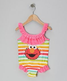 Take a look at this Neon Pink & Rainbow Elmo Ruffle One-Piece - Infant & Toddler by Sesame Street on #zulily today!