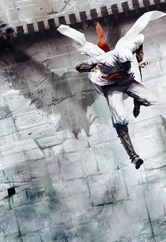 This is by far one of the cooler Assassin's Creed art pieces I've come across. I think this is Altair; I am pretty sure his name means Eagle.