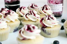 Blueberry Cupcakes with Honey Buttercream #cupcake #recipe