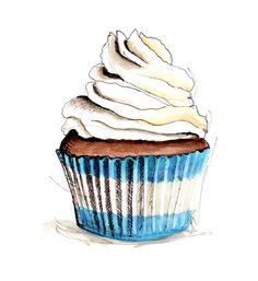 Cupcake Illustration by longbluestraw on Etsy https://www.etsy.com/listing/77226756/cupcake-illustration