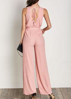 Belted V Neck Pink Sleeveless Jumpsuit | Rosewe.com - USD $27.25