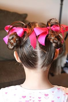 When I did this I used the large thick covered elastics that don't have the metal piece connecting the pieces. Wet hair thoroughly Apply heavy hold hair gelPart the hair at a slant to the crownPull each half up into a ponytail. Wet the ponytail again. Little Girl Hairstyles, Cute Hairstyles, Girls Hairdos, Dance Hairstyles, Princess Hairstyles, School Hairstyles, Updo Hairstyle, Wedding Hairstyles, Heidi Klum