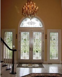 Full view double doors, clear double bevel infinity knots with clear bevel fans top and bottom, 4 bevels connected with swirling border and 8 part bevel accent. Entry Foyer, Front Entry, Entry Doors, Leaded Glass, Beveled Glass, Stained Glass Windows, Double Infinity, Privacy Glass, Window Panels
