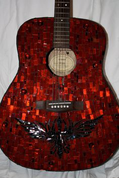 Rock & Roll Mosaic Acoustic Guitar  One of a by CupcakeGirl127, $327.00