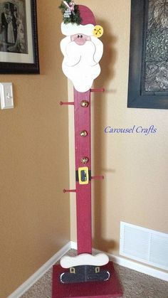 Tall Wood Stocking Holder Santa for Christmas. By Carousel Crafts Christmas Wood Crafts, Christmas Yard, Christmas Deco, Homemade Christmas, Diy Christmas Gifts, Rustic Christmas, Christmas Projects, Holiday Crafts, Christmas Holidays