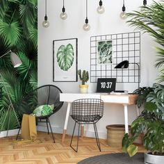 This Scandinavian style home office has gone all out botanical with leafy print wallpaper, artwork and accent cushion. This Scandinavian style home office has gone all out botanical with leafy print wallpaper, artwork and accent cushion.