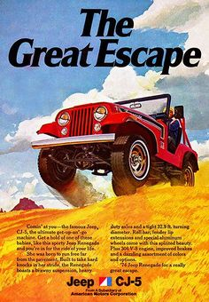 1974 Jeep CJ-5 - The Great Escape - Promotional Advertising Poster