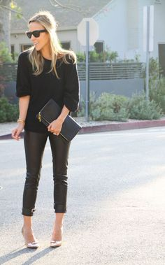 black sweater with cropped pants