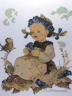 """Blue Belle"" Hummel cross stitch design"