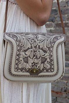 Bag: western, texture, beige bag, shoulder bag, leather bag, floral bag, floral, michael kors bag - Wheretoget