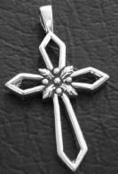 DIY Jewelry - Make a sterling silver cross necklace with a silver cross pendant that has a thistle in the center.