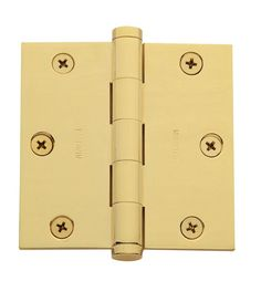 "Baldwin 1035.I 3.5"" x 3.5"" Solid Brass Square Corner Plain Bearing Mortise Hinge"