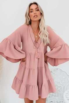 Cute Pink Cotton Tiered Babydoll Tunic Dress, Shop for cheap Cute Pink Cotton Tiered Babydoll Tunic Dress online? Buy at Modeshe.com on sale!