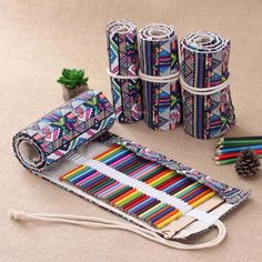 Makeup Bags & Cases Holes Canvas Wrap Roll Up Pencil Bag Pen Case Holder Storage Pouch Roll Up Pencil Case, School Pencil Case, Volume Art, Pen Storage, Pencil Boxes, It Cosmetics Brushes, Pen Case, Crayon, Pouch