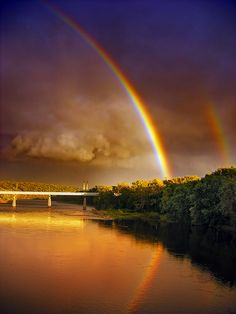 Double rainbow photography colorful storm sky clouds rainbow beauty double