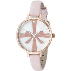 Kate Spade Women's 1YRU0879 'Metro Wrapped Up' Crystal Pink Leather Watch featuring polyvore, fashion, jewelry, watches, mother of pearl, pink dial watches, crystal charms, snap button charms, crown charm and bezel watches