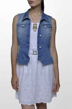 Sarah Lawrence - denim vest, sleeveless belted dress with embroidery.