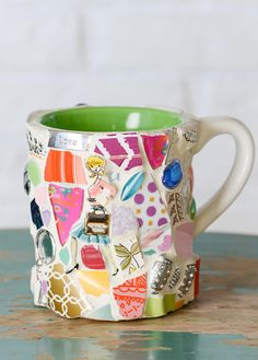 This Whimsical Cup of Happy, Girl Power Pen cup, vase or planter is made from an eclectic mix of patterned and colorful plate pieces and salvaged mugs. Why Girl Power pen cup? Note the You Go Girl handle, Working Girl pin, Hand mirror, bow and key findings...a bit of encouragement with