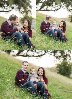 Fall family maroon and navy blue portraits with one year old baby at Fort Monroe, Virginia with Spangled Photography